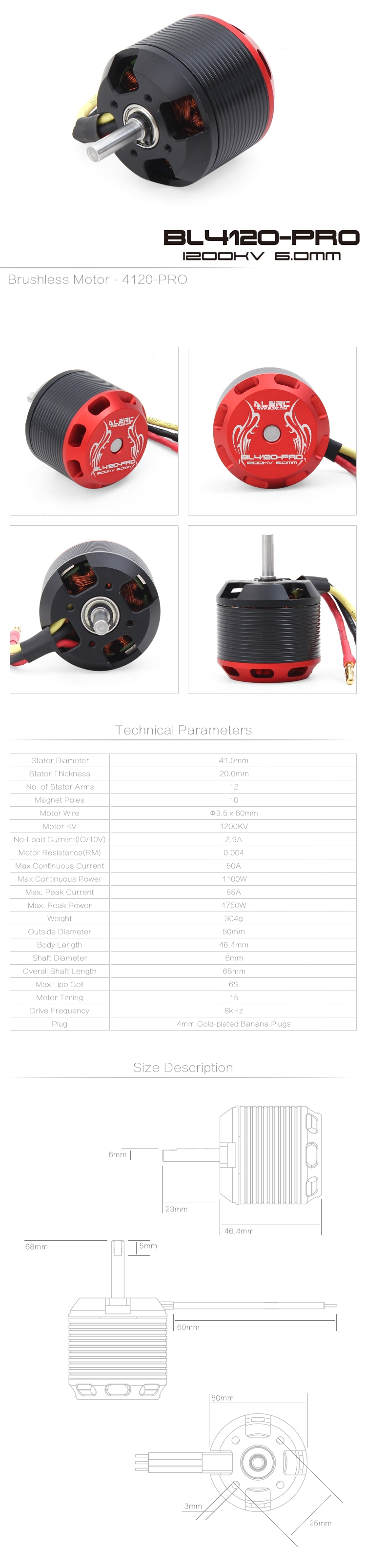ALZRC 505 RC Helicopter Parts 1200KV Brushless Motor
