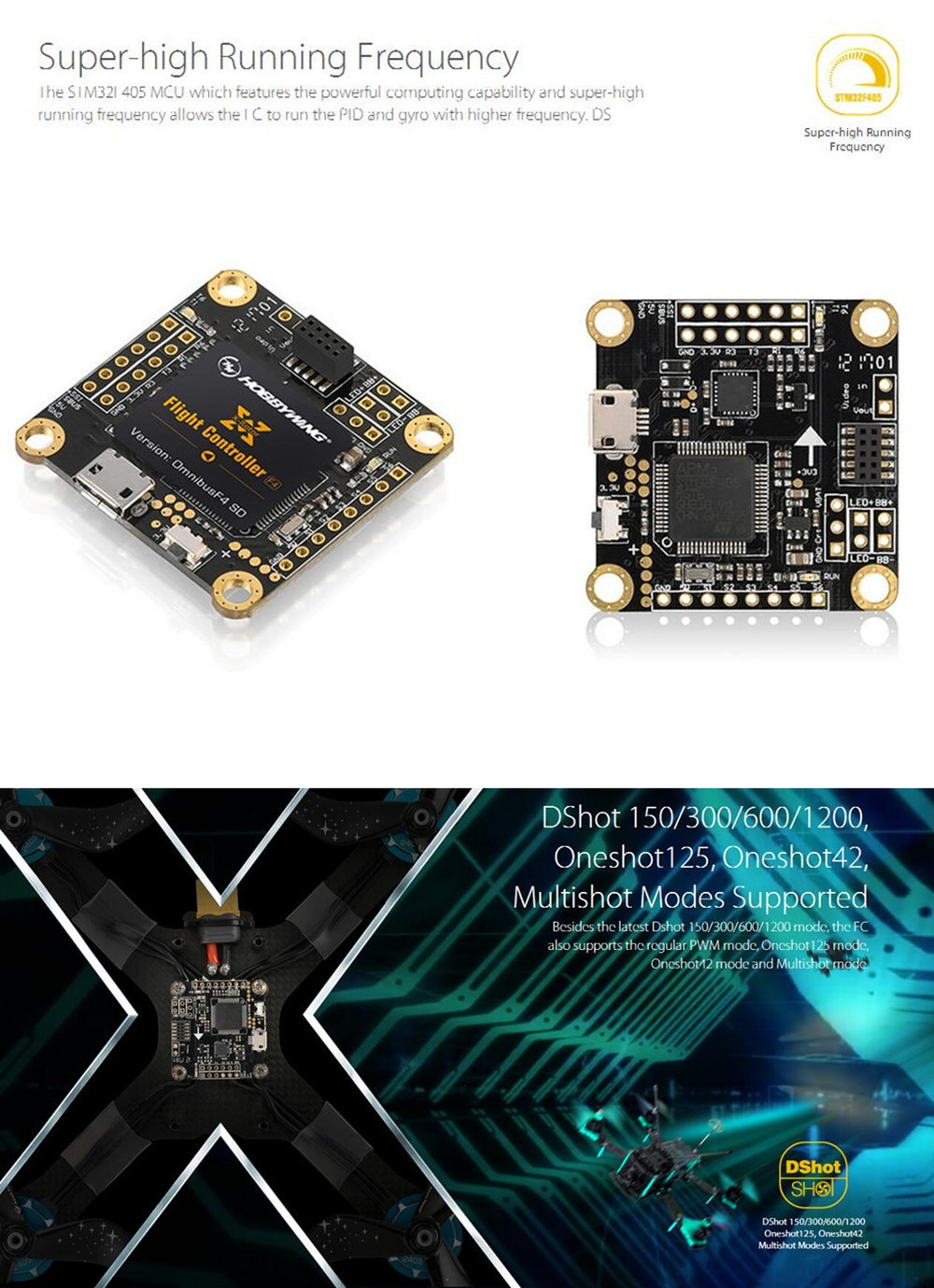 Hobbywing XRotor Omnibus F4 Flight Controller Built-in OSD Support DShot1200 TF-Card Insertion