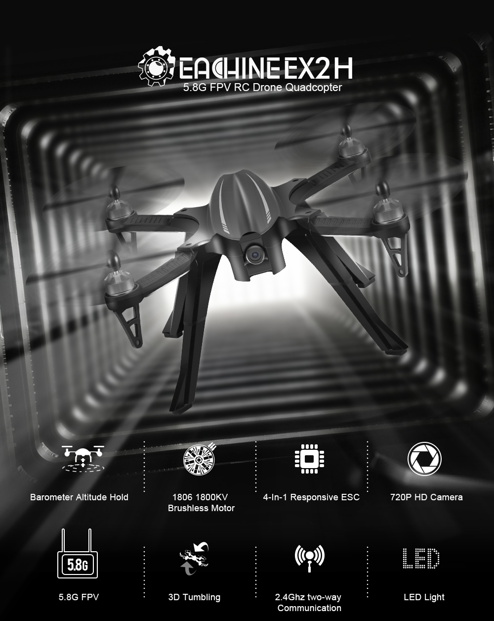Eachine EX2H Brushless 5.8G FPV With 720P HD Camera Alititude Hold RC Drone Quadcopter RTF