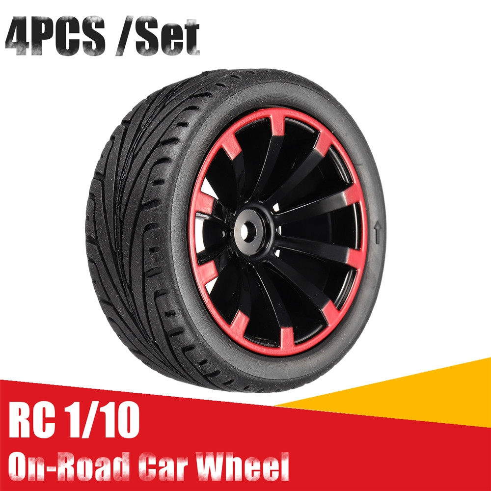 AUSTAR 4PC 68*26mm Rubber Racing Tires Tyre Wheel Rim for 1/10 On-Road Rc Car Parts