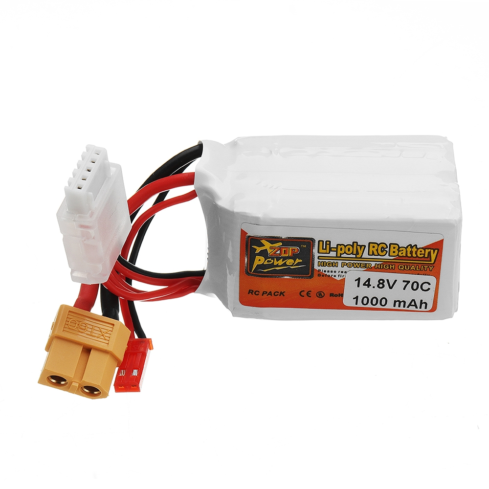 ZOP POWER 14.8V 1000mAH 70C 4S Lipo Battery With JST/XT60 Plug For RC Racing Drone