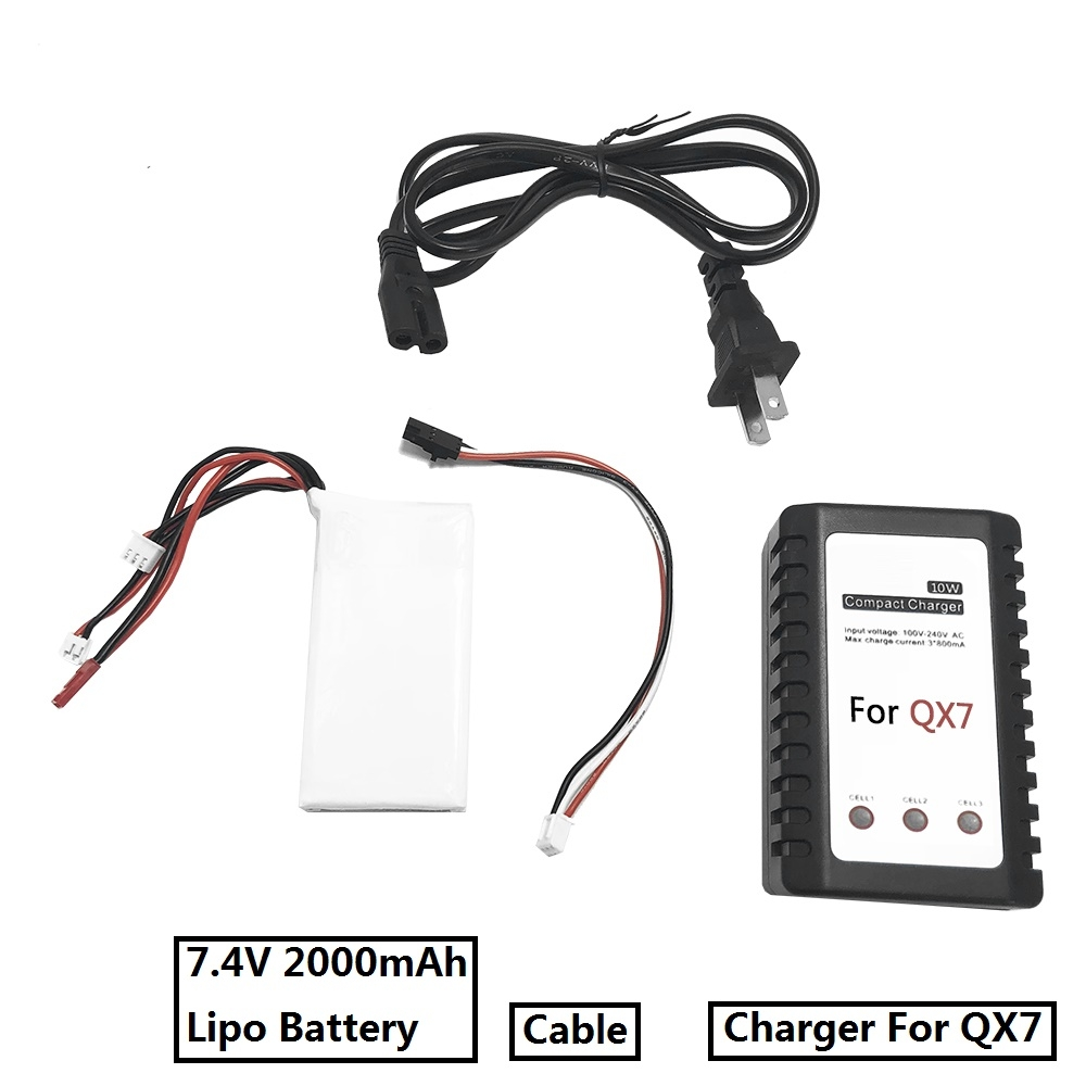 Battery Charger Upgrade Kit with 7.4V 2000mAh Lipo Battery for FrSky ACCST Taranis Q X7 Radio Transmitter