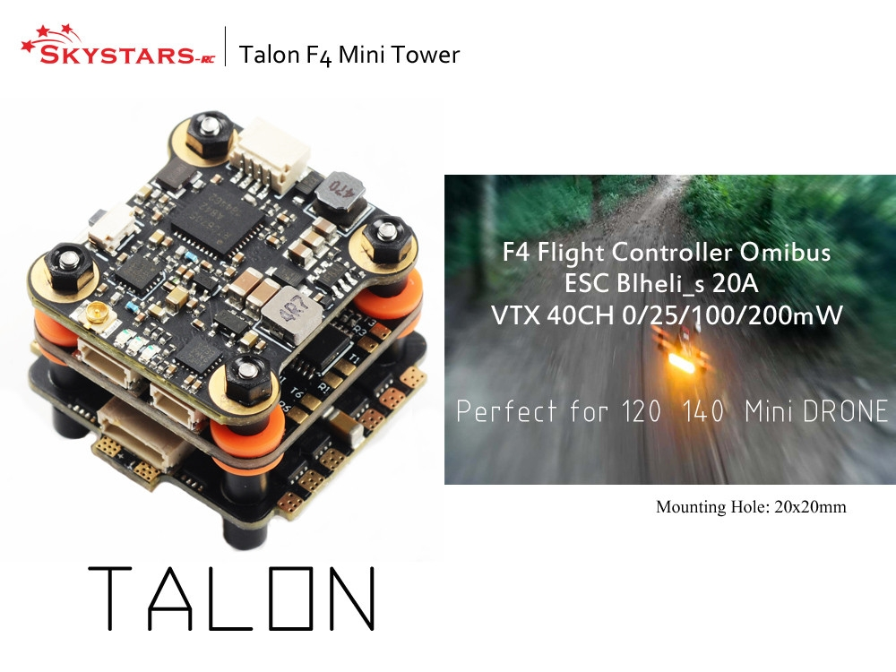 20x20mm Skystars Talon Mini F4 Flytower F4 OSD Flight Controller & 20A BL_S 4in1 ESC & 48CH 25/100/200mW VTX