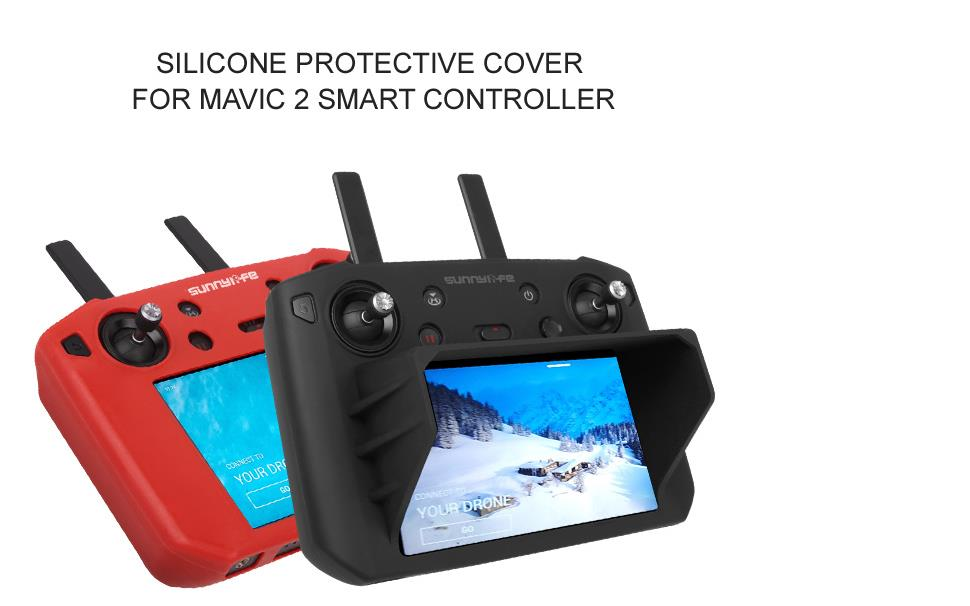 Sunnylife Silicone Protective Cover with Sunhood Soft Shockproof and Anti Falling Protector Sunshade Hood for DJI Mavic 2