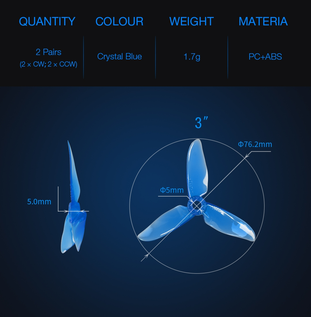 2 Pairs Dalprop Cyclone T3056C PRO 3 Inch 3 Blade Propeller PC+ABS Clover Prop Transparent Blue