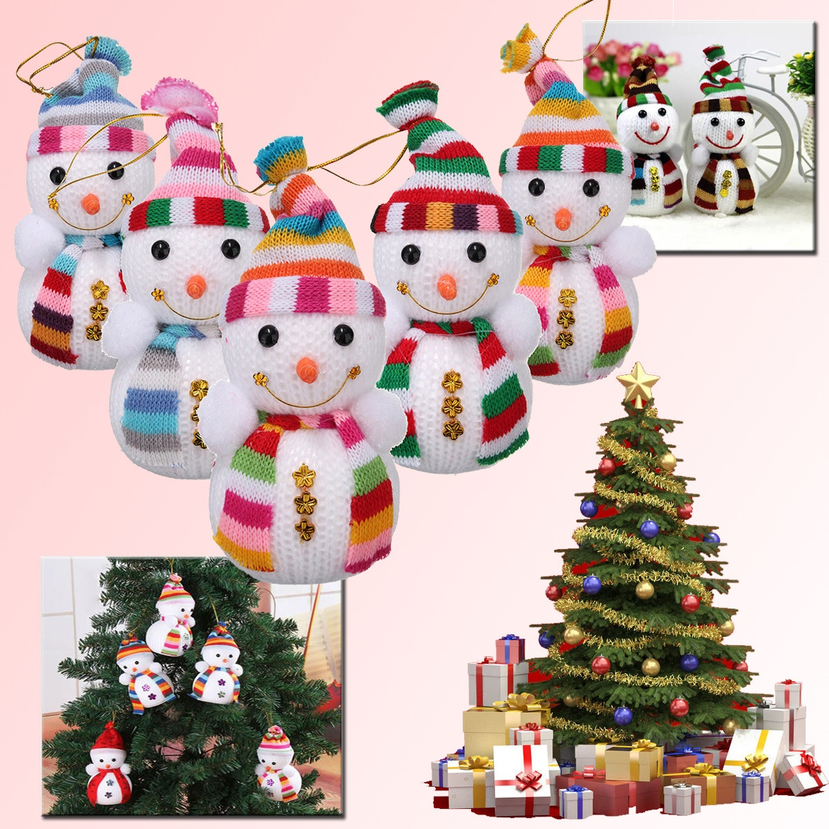 5Pcs Christmas Snowman Doll Xmas Festival Tree Hanging Ornament Decoration Gifts