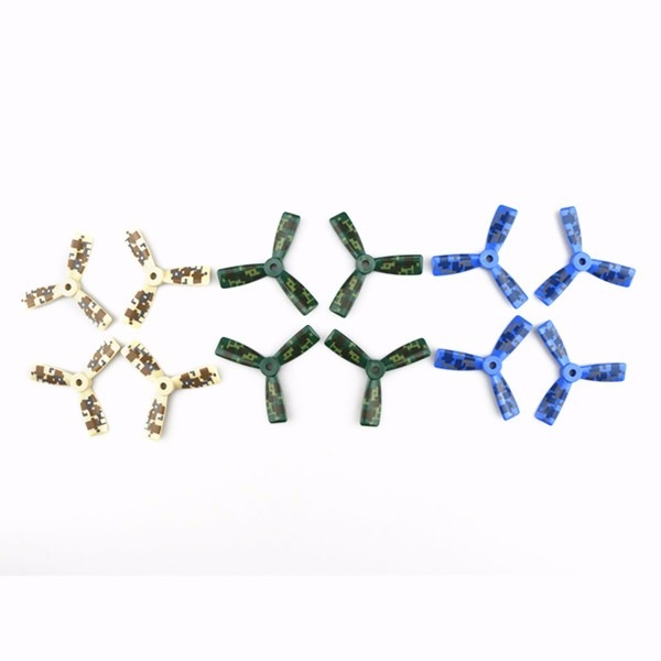 12PCS JJPRO-3045 3-Blade ABS CW/CCW Propeller Blue/Green/Yellow for FPV Racing
