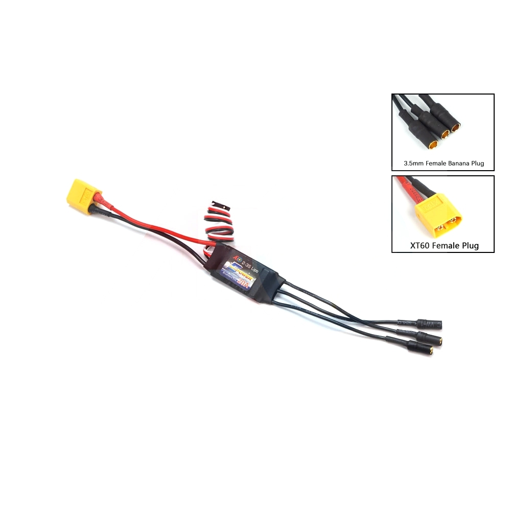 AEORC E-Power BE005 Motor Speed Controller 20A Brushless ESC 4S 5S with UBEC 3.5mm Banana Plug XT60 Connector for RC Airplane FPV Racing Drone