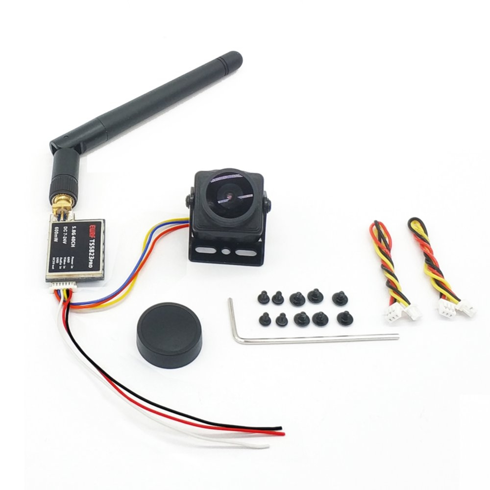 Upgraded EWRF TS5823Pro 5.8GHz 40CH 600mW FPV Transmitter VTX With CMOS 1200TVL Camera For RC Drone