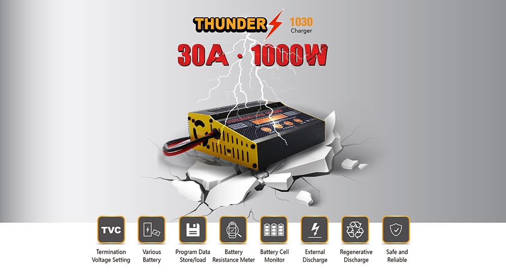 HOTA Thunder 1030 1000W 30A DC Smart Battery Charger Discharger for 1-10S Lipo Battery