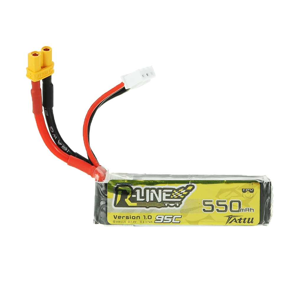 TATTU R-LINE V1.0 7.4V 550mAh 95C 2S Lipo Battery XT30U-F Plug For RC Drone