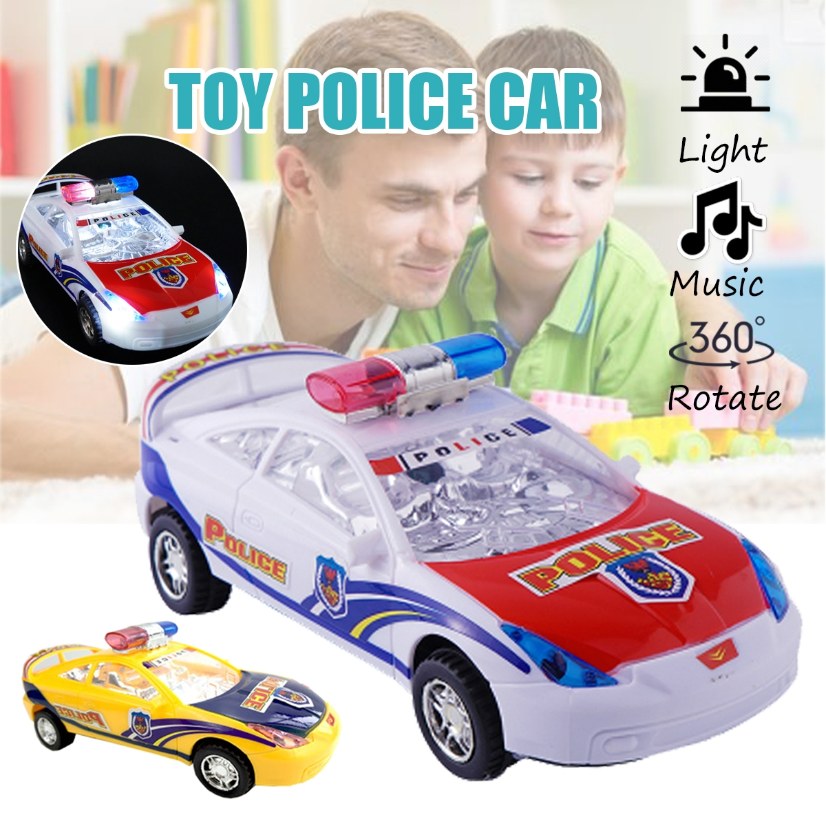 Children's Electric Alloy Simulation Po lice Car Diecast Model Toy with LED Light and Music