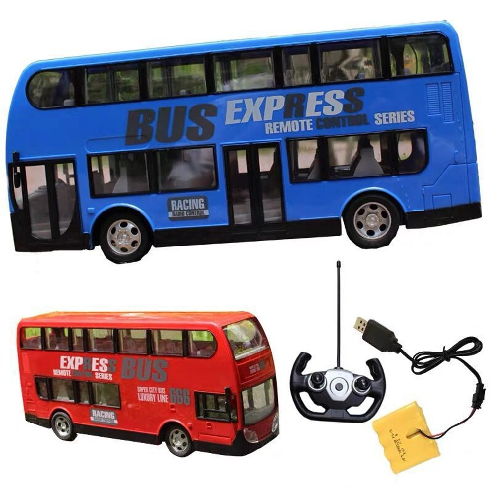 Wireless Remote Control RC Car Two Layers Electric City Bus Express with LED Light Model