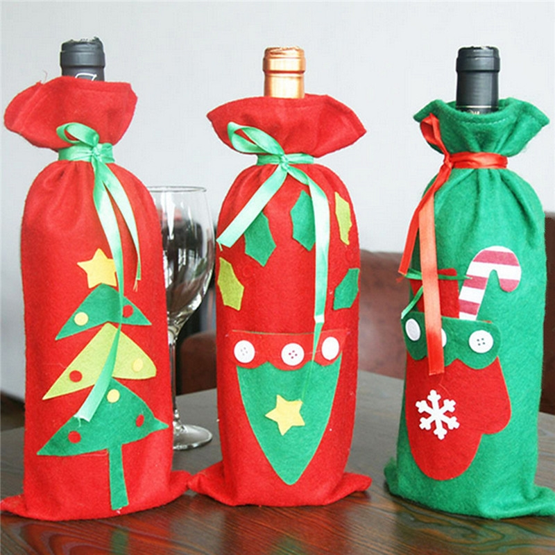 Christmas Champagne Wine Bottle Cover Bag Xmas Party Ornament Dinner Table Decor