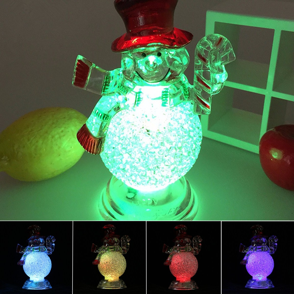 Acrylic Christmas Xmas Transparent Snowman LED Light Color Changing Home Decor