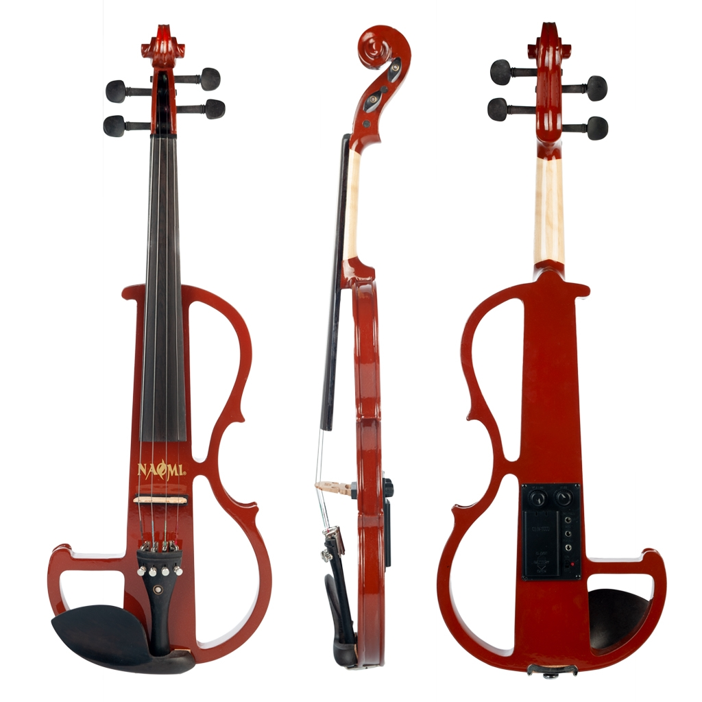 Naomi Violin Full Size 4/4 Solid Wood Electric Violin Basswood Body Ebony Fingerboard Pegs with Ebony Ebony Accessories