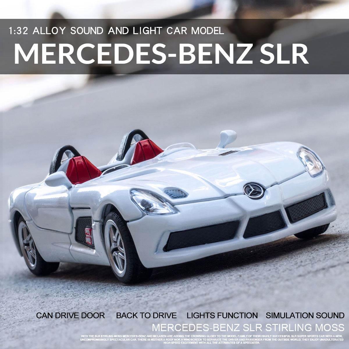1:32 Alloy Mercedes BENZS SLR Pull Back Motor Diecast Car Model Toy with Sound Light for Gift Collection