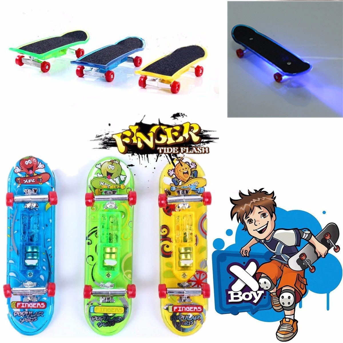Plastic Mini LED Skateboard Toys Finger Board Plus Accessories Boy Children Gift