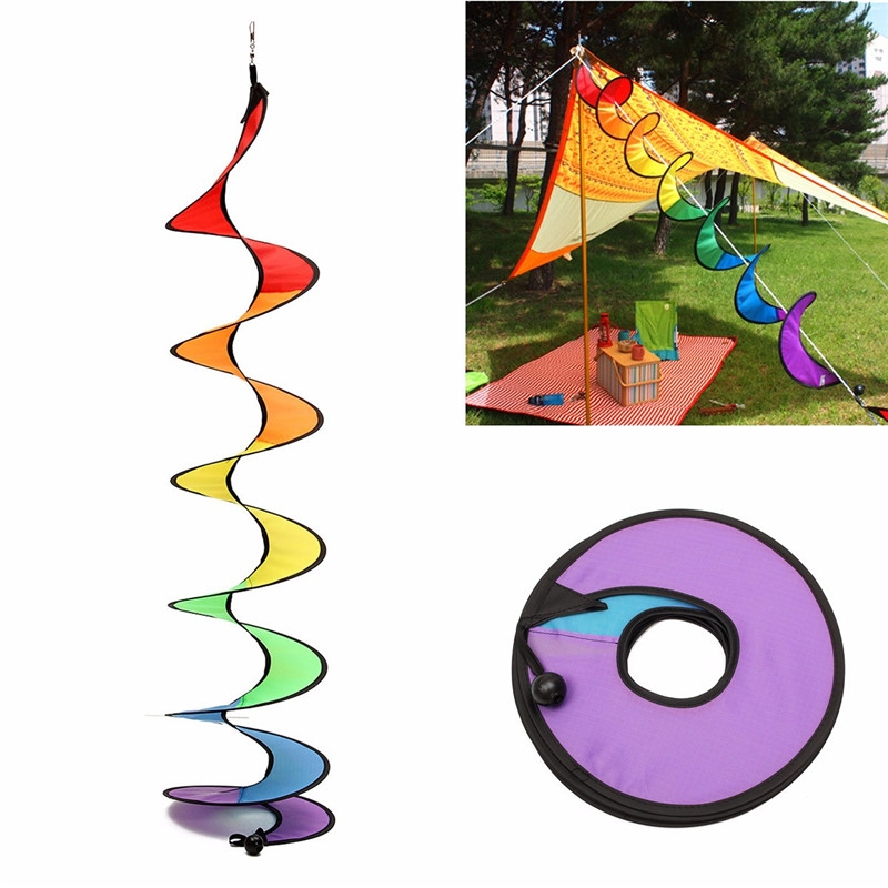 110cm Rainbow Spiral Curlie Tail Windmill Colorful Wind Spinner Tent Garden Decoration