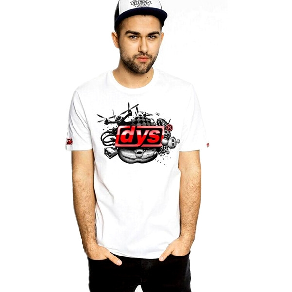 DYS White Men T shirts O-neck Short Sleeve Casual Tees Size L-2XL