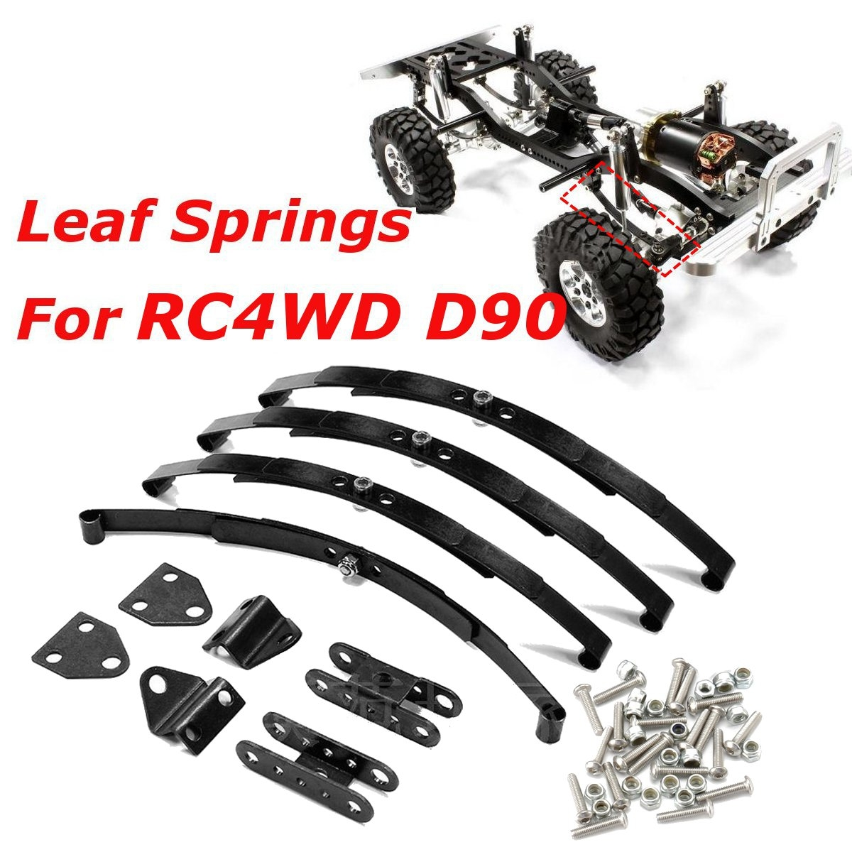 4pcs 1/10 Leaf Springs Set HighLift Chassis For 1/10 D90 RC Crawler Car Parts Black